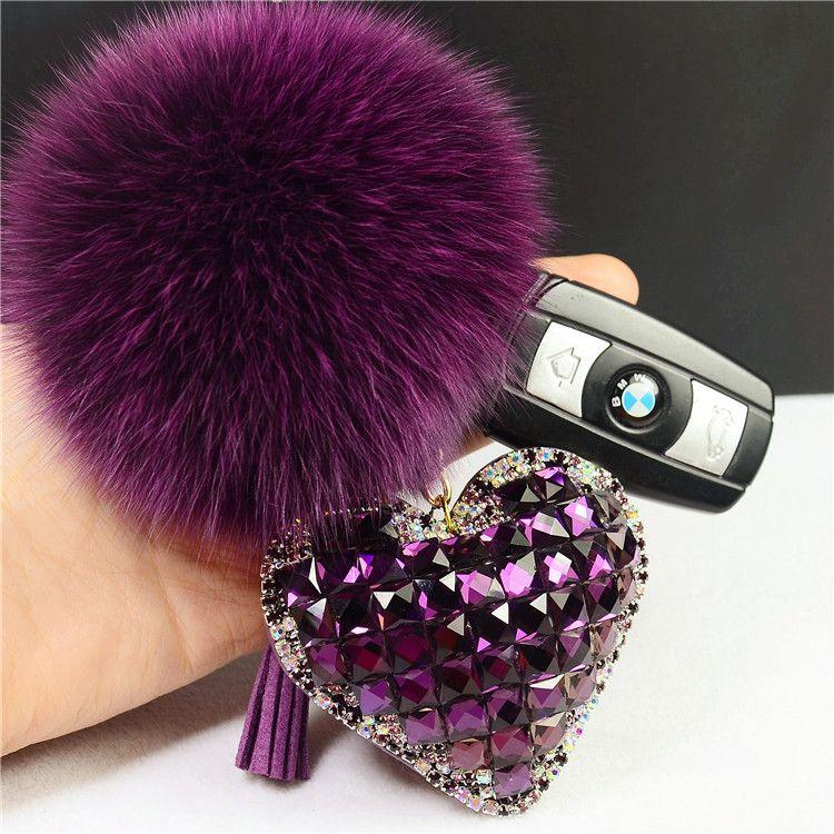 ba85138d41d3 Rhinestone Crystal Heart Keychain Fluffy Pom Pom Real Fox Fur Keychain Fur  Key Chain Key Ring