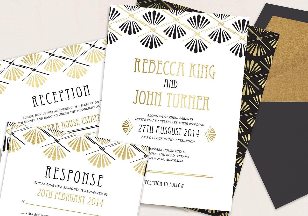 Art Deco Wedding Invitations Google Search