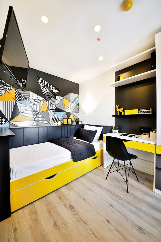 Student Living Room Decor: Dormitory Room Interior Design #rendahelindesign #design