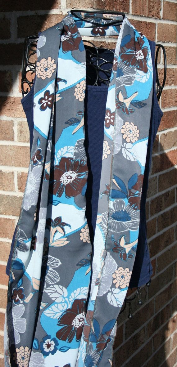 Grey Blue & Brown Flower Scarf by TangerinesCreations on Etsy, $15.00