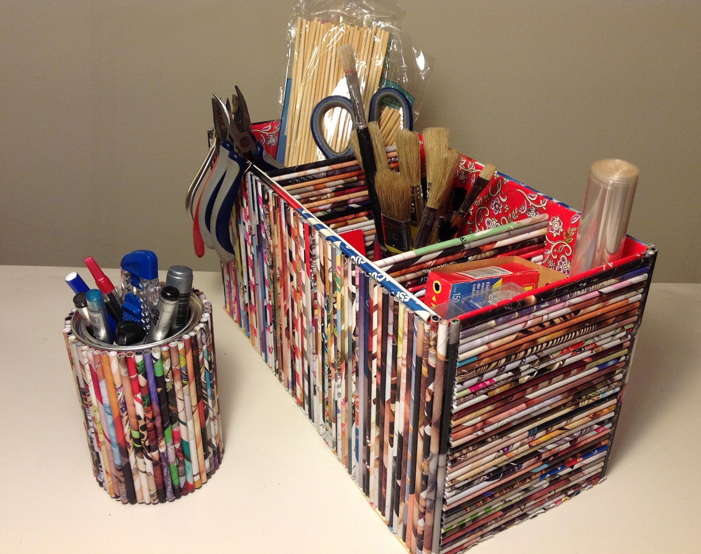 Portalápices y Caja multiuso con 3 divisiones, hechos con papel de revistas - Magazine paper crafts