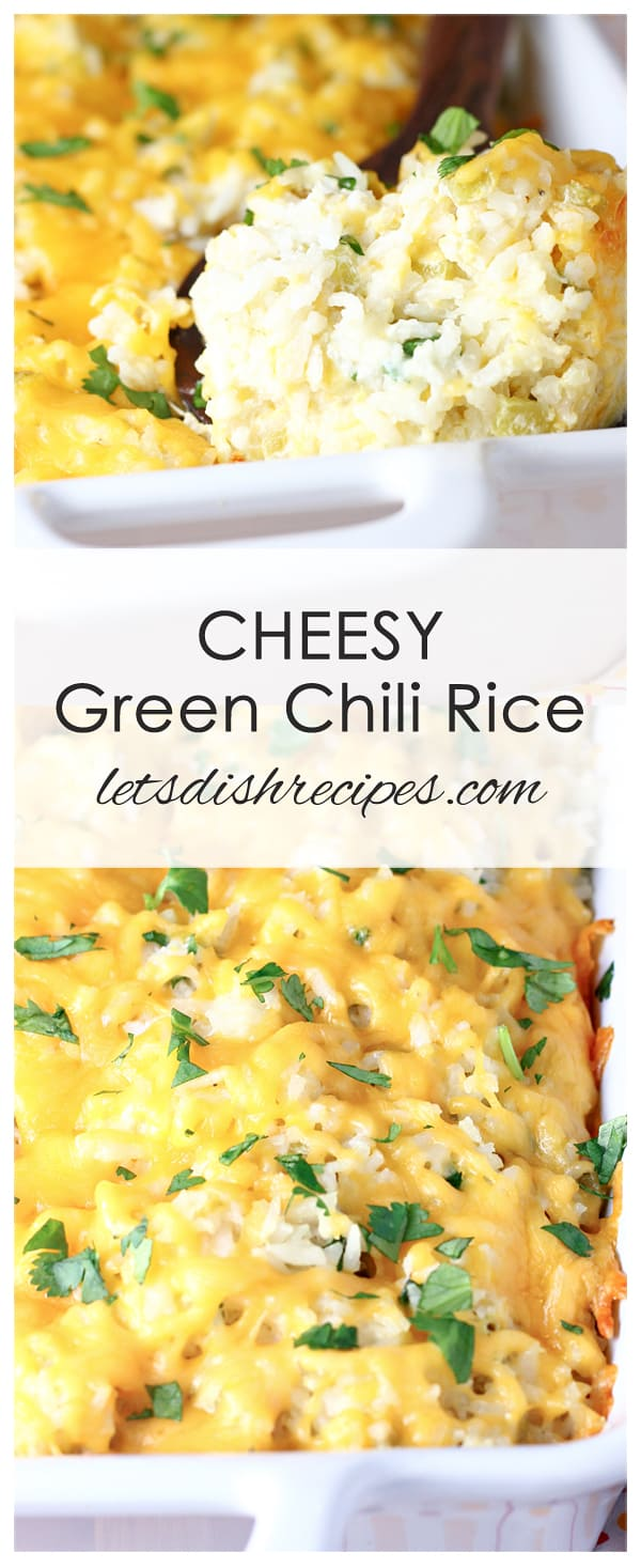 Cheesy Green Chili Rice | Let's Dish Recipes #whitericerecipes