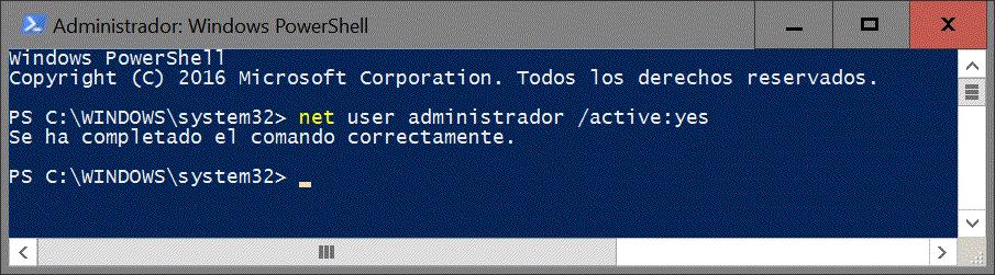 Consola de comandos Windows PowerShell
