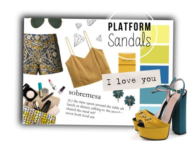"""Platform Sandals"" by delfine1997 ❤ liked on Polyvore featuring Seed Design, Topshop, Lanvin, Alice + Olivia, Ray-Ban, Gucci and platformsandals"
