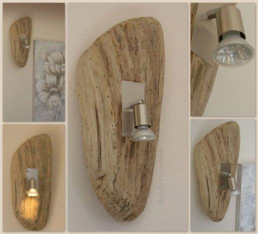 Applique en bois flott et spot alu bross luminaire for Barriere bois flotte