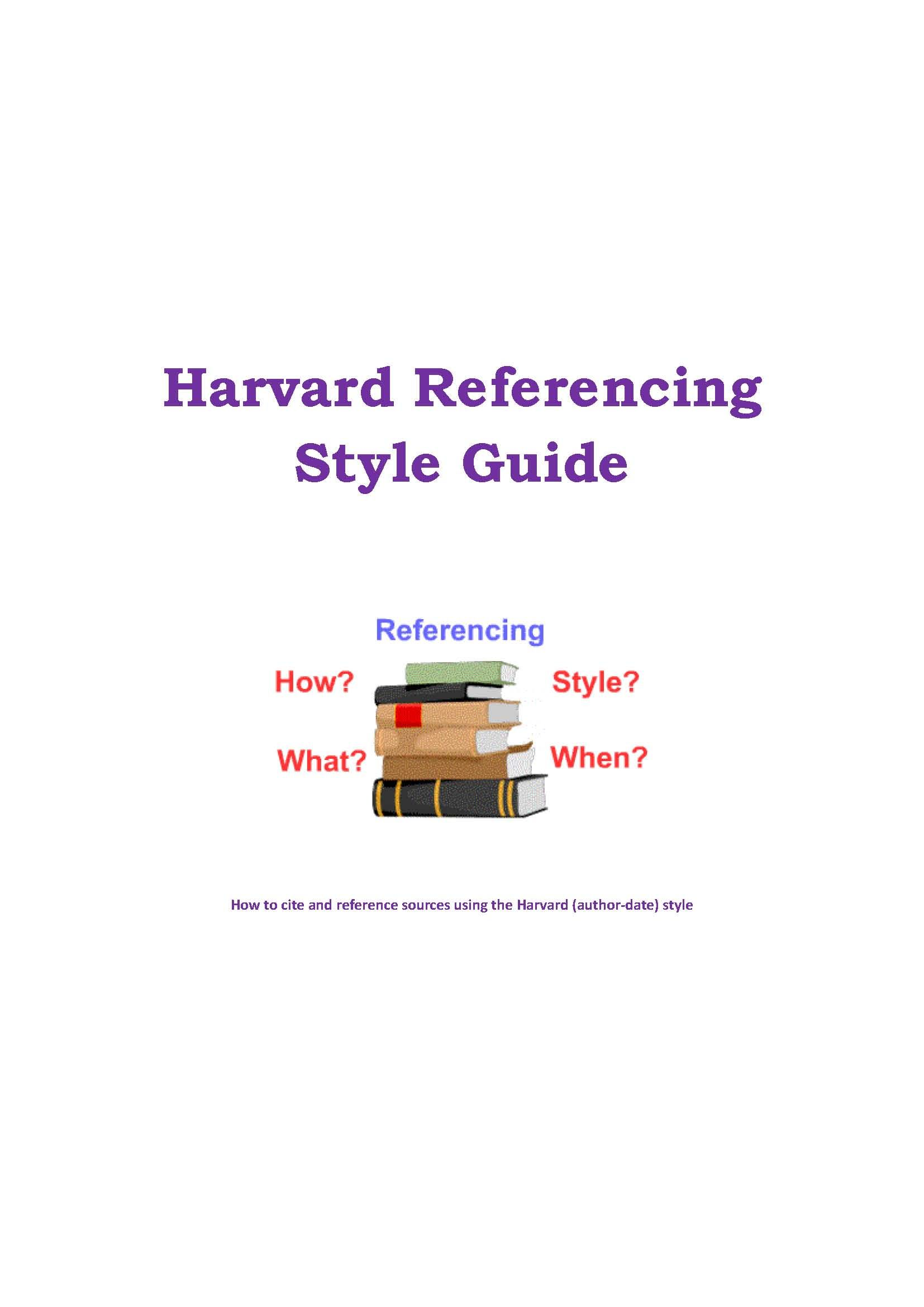 Harvard Referencing Style Guide Social Thinking How To Cite Book In Text