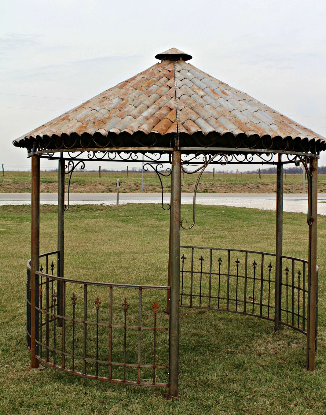Metal Garden Gazebo All Metal Tiki Hut Gazebo Wrought Iron Yard Structure Garden