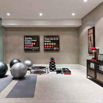 basement gym transitional basement house  home in 2019