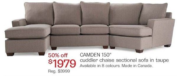 Camden 150 Cuddler Chaise Sectional Sofa 1979 00 50 Off