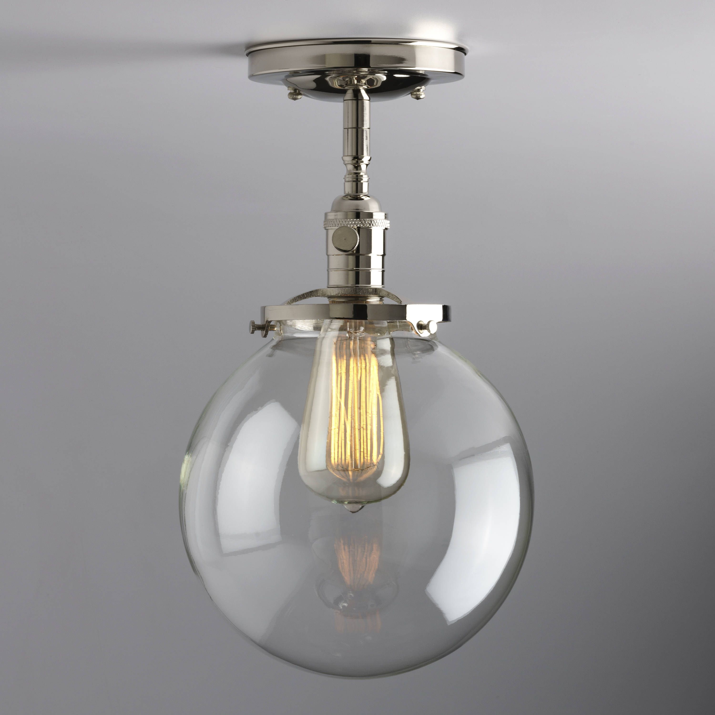 light lighting flush fixture mount clear schoolhouse glass pin semi