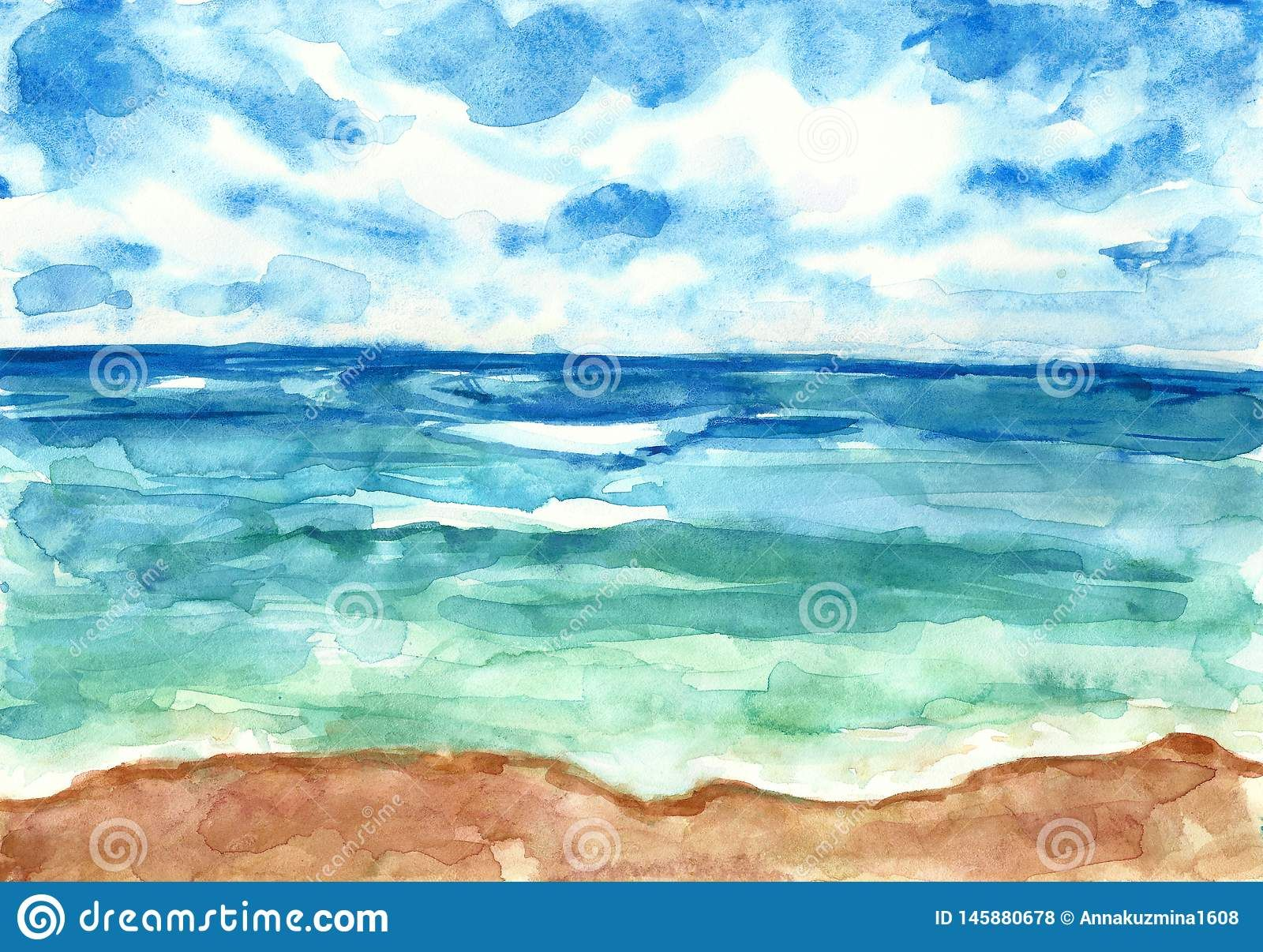 Illustration About Watercolor Sea And Summer Beach Landscape