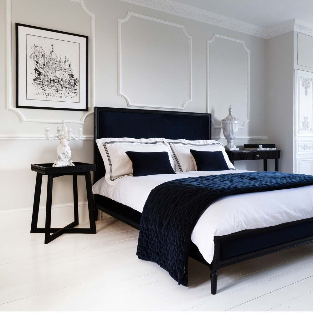 Plushious Navy Blue Cotton Velvet Quilted Bedspread Blue Velvet Throw Bed Styling Bed Linens Luxury Modern Bed