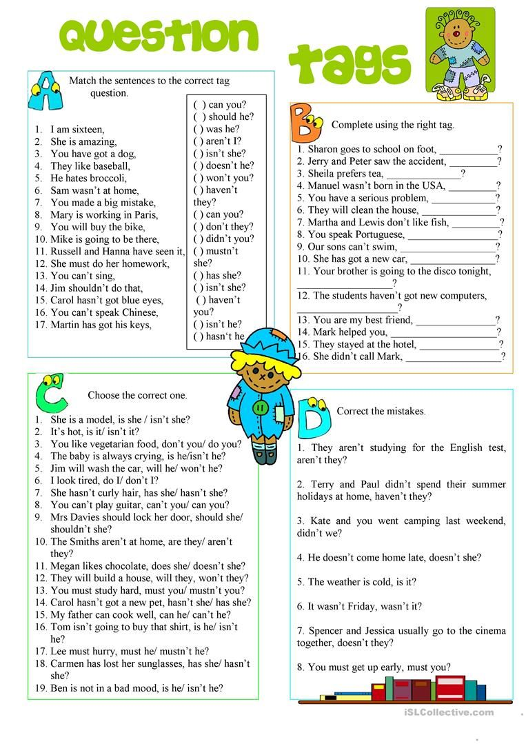 Question Tags worksheet - Free ESL printable worksheets made ...