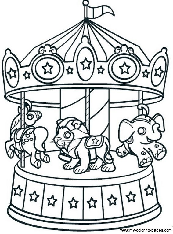 Simple Carnival Carousel Printable Coloring Page Kids Summer