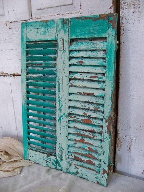 Hand Painted Caribbean Turquoise Aqua Wooden Shutter Beach