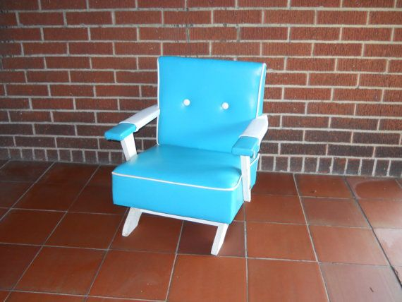 Childu0027s RETRO Rocking Chair Wooden Frame. Aqua And White. Excellent Vintage  Condition 1950s.