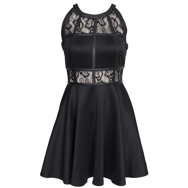 Ax Paris Lace Insert Skater Dress (£50) ❤ liked on Polyvore featuring dresses, black, party dresses, womens-fashion, black skater skirt, lace skater dress, lace cocktail dress, black cocktail dresses and flared skirt