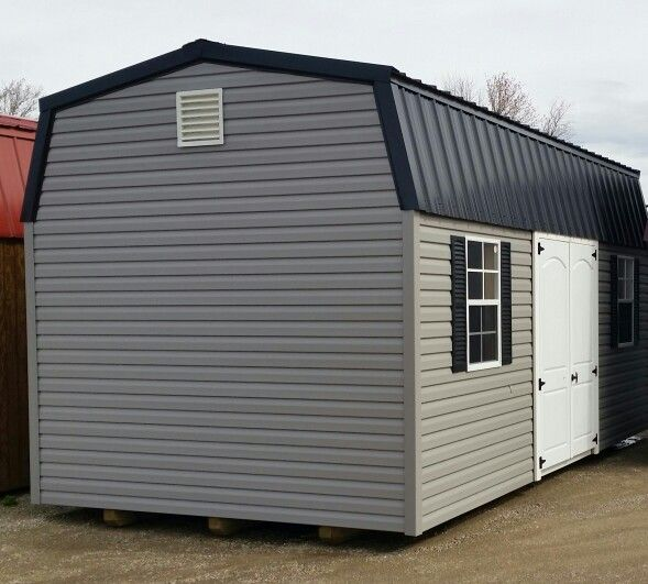 10x20 Vinyl High Barn Black On Gray Very Nice Options Include 2 2x3 Windows 2 Sets Of Matching Shutters Free Set Of Vinyl Vinyl Doors Vinyl Siding Building