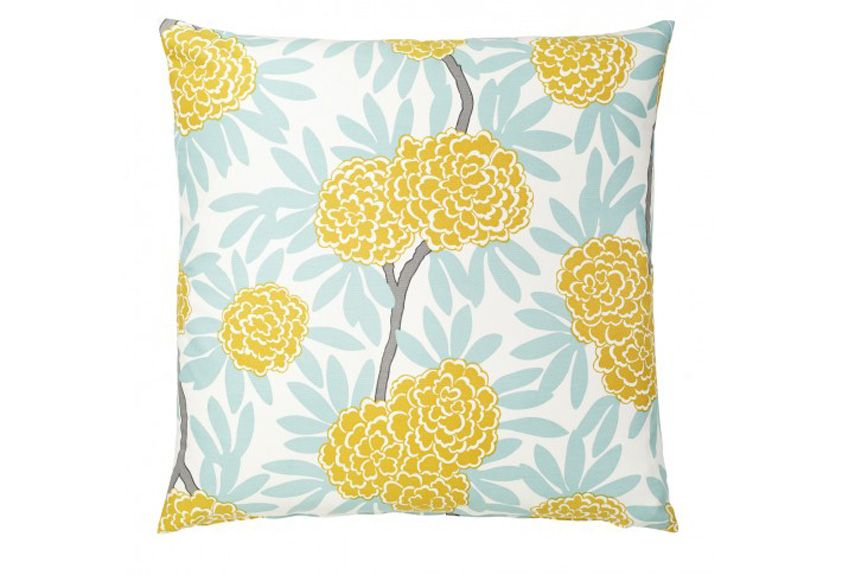 """""""I haven't met a Caitlin Wilson pillow I didn't like,"""" says Gretchen. """"If you're looking to refresh a room with color and pattern, this pillow is a great way to get there."""" (Mustard Fleur Chinoise pillow, from $60, caitlinwilsontextiles.com)"""