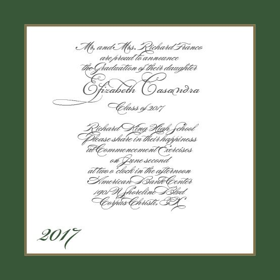 Simply Formal Graduation Announcement Classy, Fonts and Colors