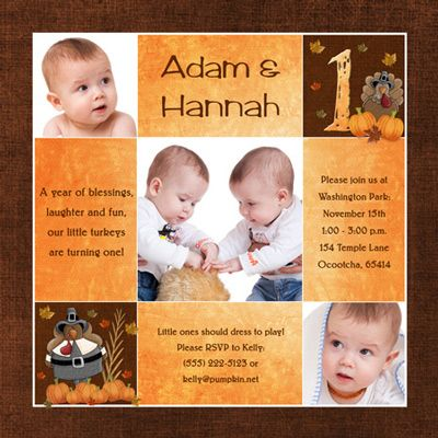 3rd Birthday On Thanksgiving For Twins Invitation