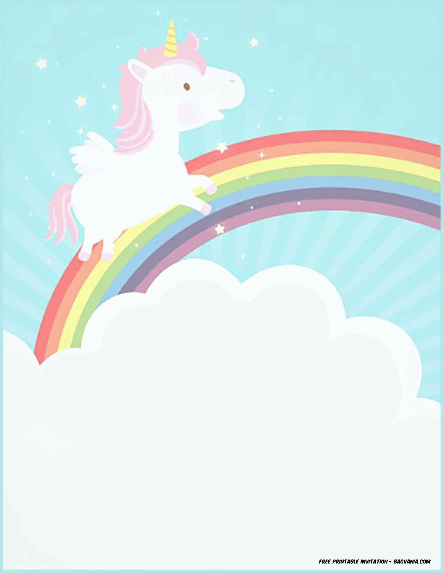 picture relating to Free Printable Unicorn Template identified as Amazing No cost Printable Unicorn Birthday Invitation Template