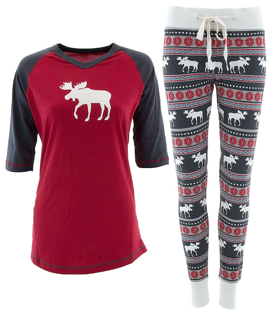 32cef51e2 Lazy One Red Moose Fair Isle Pajamas for Women - Click to enlarge ...