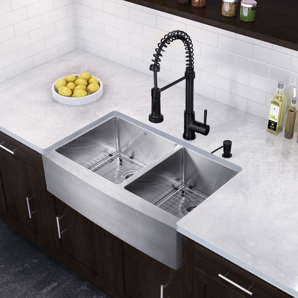 Farmhouse 33 X 22 25 16 Gauge Double Bowl Kitchen Sink And Edison Pull Down Spray Kitchen Faucet Farmhouse Sink Kitchen