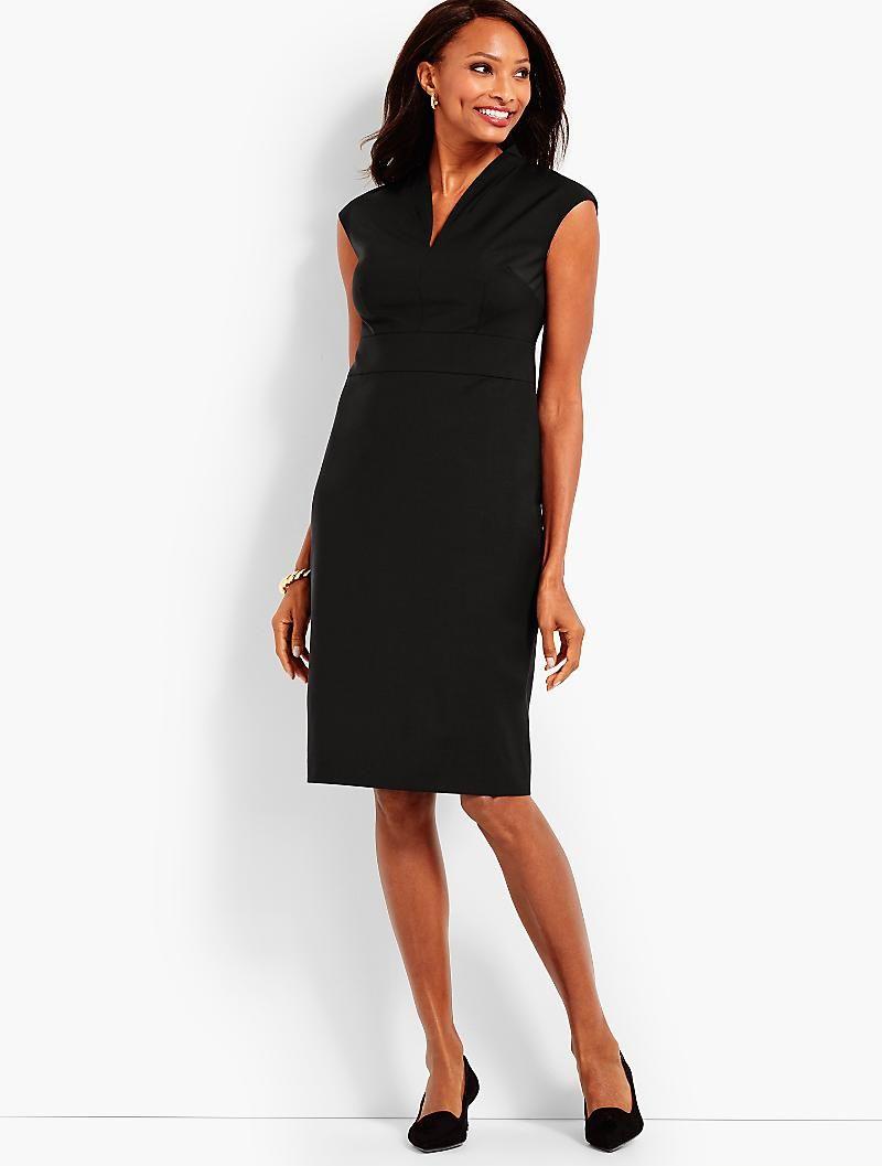 2129cbb3 Seasonless Wool Extended-Shoulder Sheath Dress | My hot weather work ...