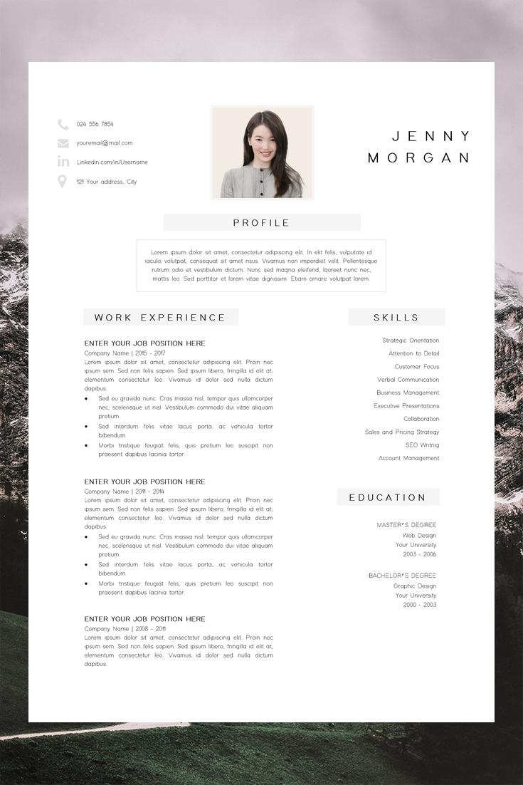 professional resume design cv template word creative
