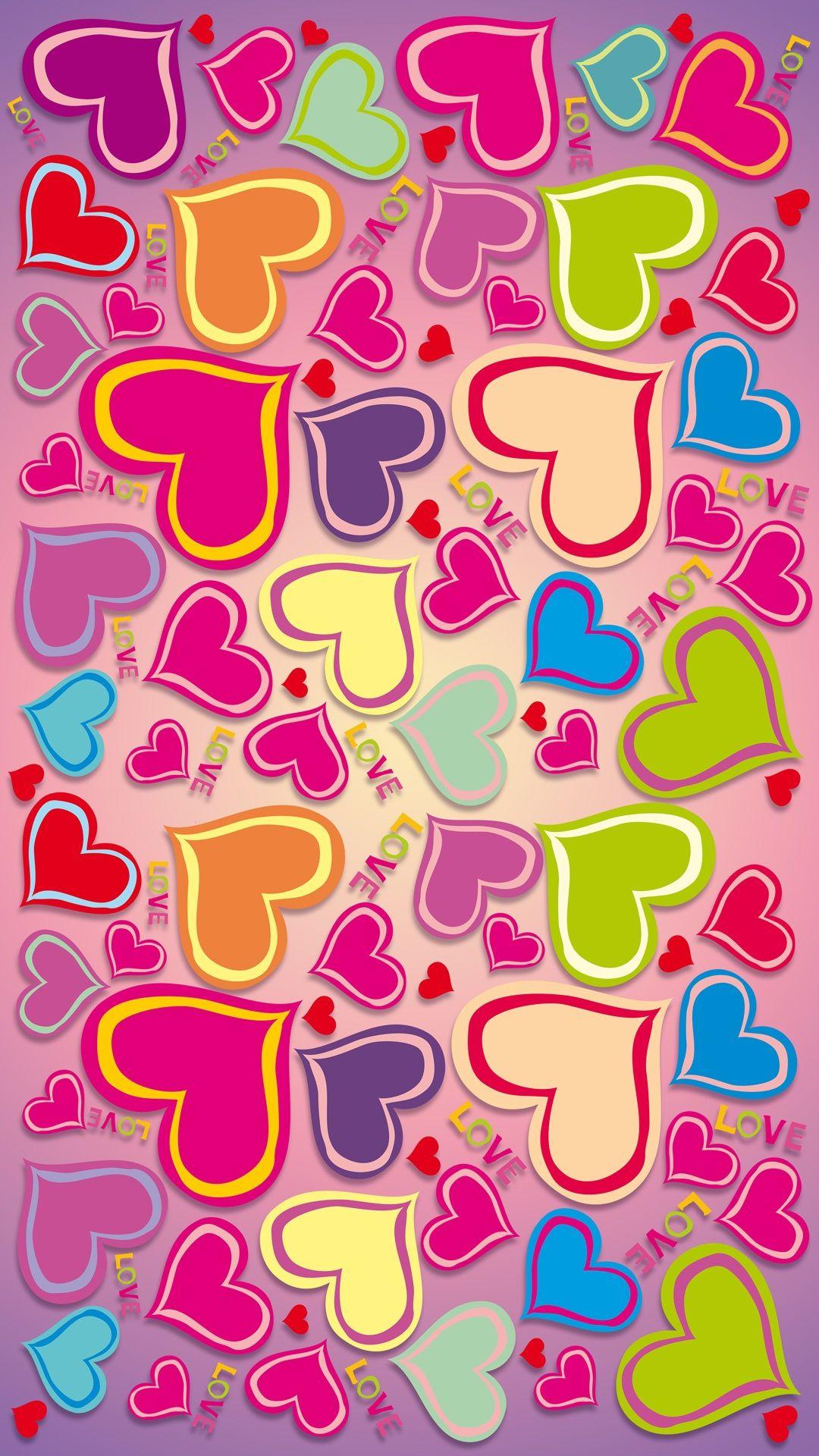 Colorido, arco íris, corações do amor iPhone 6 (6S) mais wallpaper - 1080x1920
