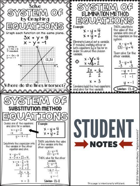Systems Of Equations Student Notes And Practice Teaching Math Systems Of Equations Education Math