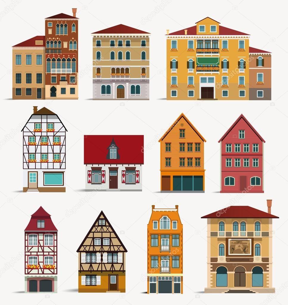 유럽의 가옥 스톡 일러스트 집 그림 일러스트레이션 벽화