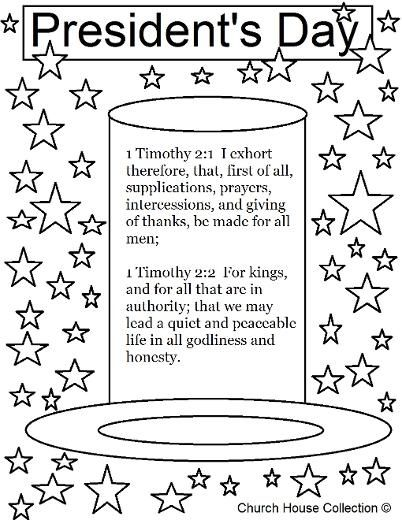 Presidents Day Coloring Page For Sunday School 1 Timothy