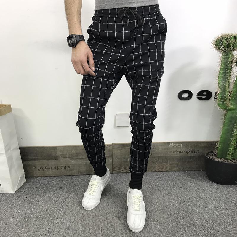 2019 Men S Black Square Plaid Casual Pants Everboo Mens Pants Fashion Mens Fashion Casual Outfits Pants Outfit Men