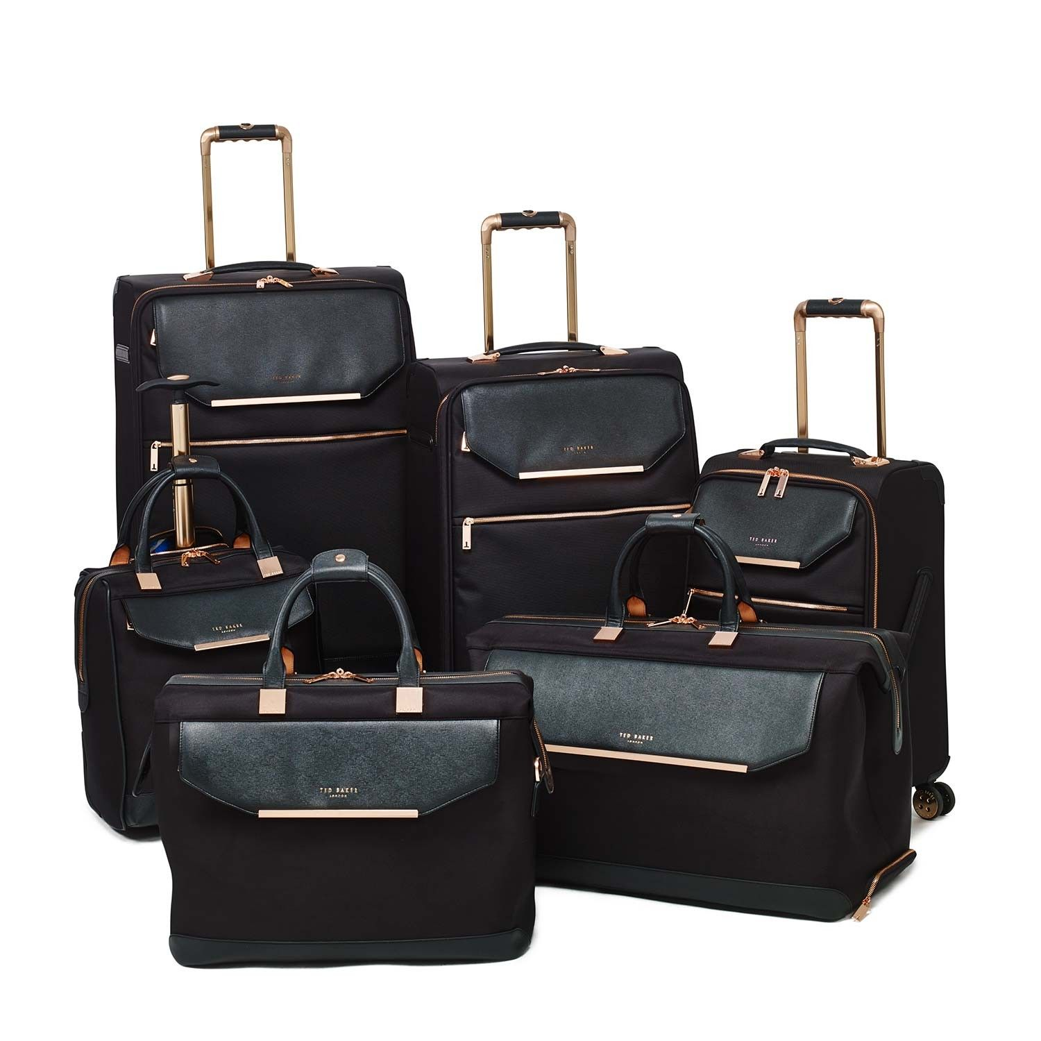 111ff858e15477 Luggage Ted Baker Albany Collection TBW5001 4 Wheel Large Case Black Rose  Gold