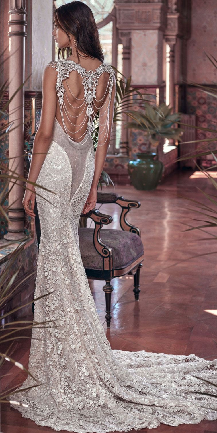 mermaid column gown with a sheer back feature made of glistening French Guipure lace #wedding #weddinggown #weddingdress
