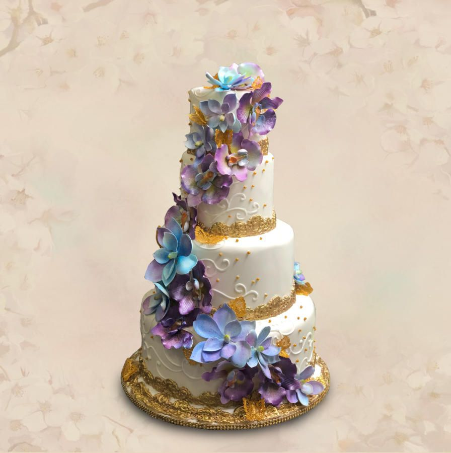 Cascading Floral Wedding Cake by MsTreatz - http://cakesdecor.com ...