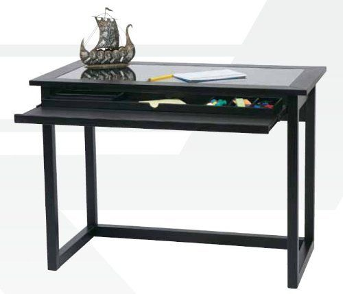 Black Wood Finish Glass Computer Desk By Broadway Solutions 309 99 Tempered Glass Desk Top Provides A Glass Computer Desks Furniture Home Office Furniture