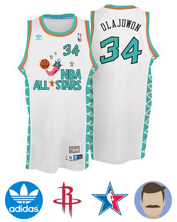 7382973c8fb Men's Hakeem Olajuwon #34 White All-star Jersey | Houston-Rockets ...
