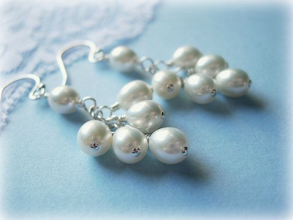 White Freshwater Pearl Cluster Earrings, Sterling Silver, Wire Wrapped, Long, Bridal, Bride, Bridesmaid, June Birthstone on Etsy, $28.00
