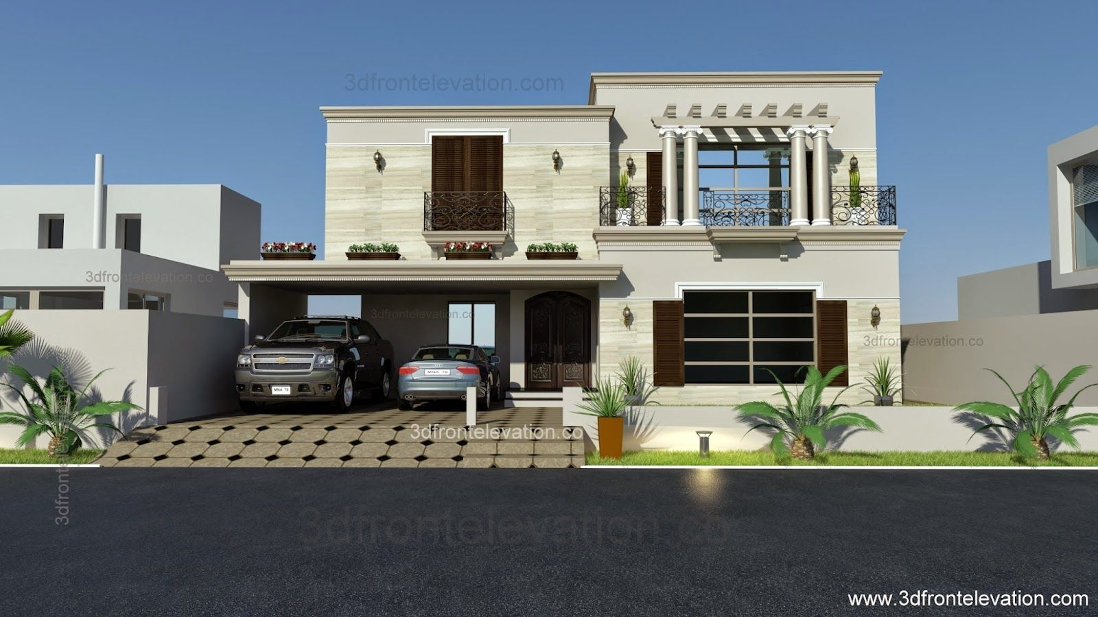Front Elevation Of Houses In Dha Lahore : D front elevation kanal spanish house design plan