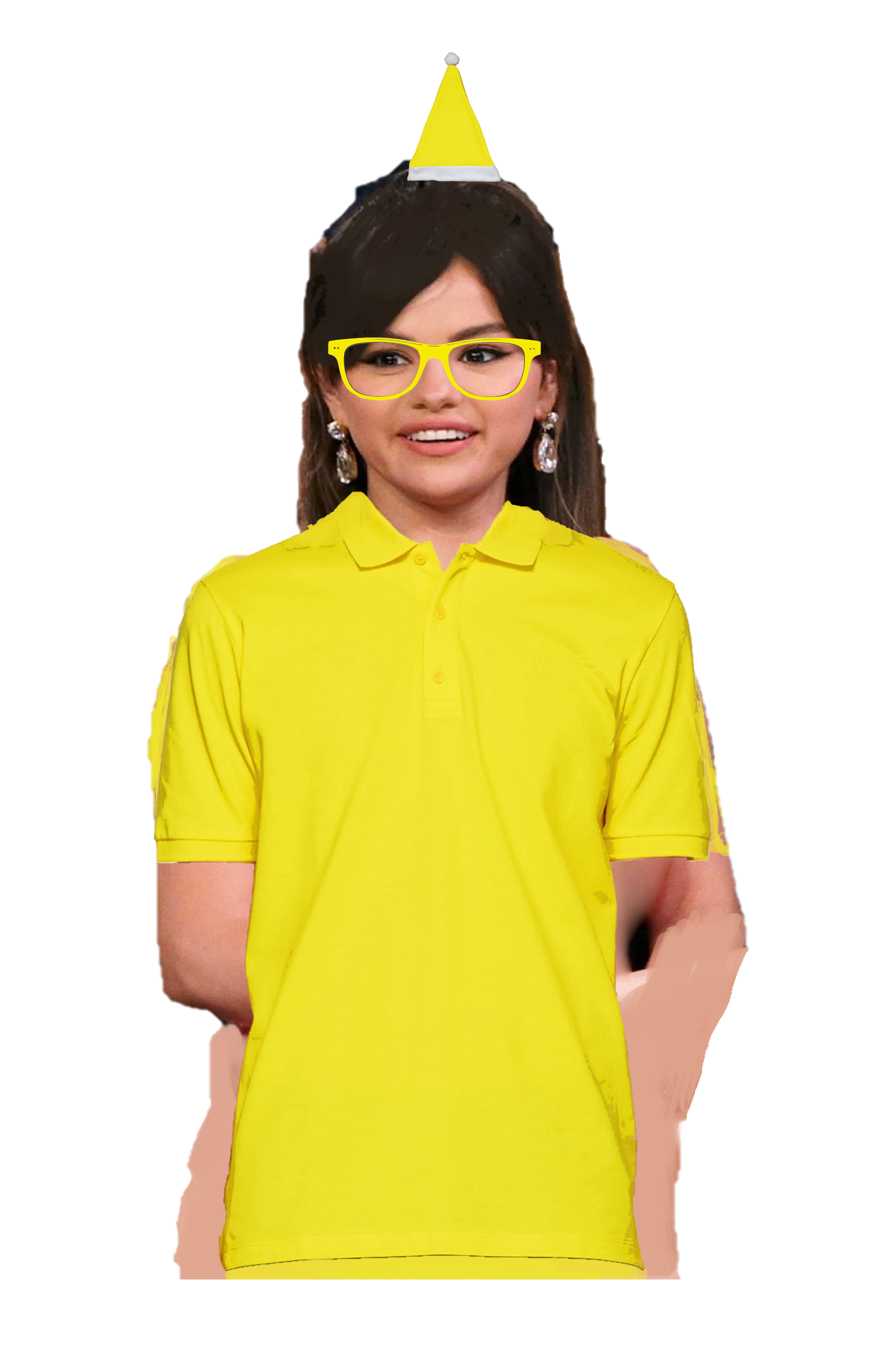 Selena Gomez Long Brown Hair With A Clip Wearing A Yellow Santa Claus Hat Glasses Polo Shirt In 2020 Yellow Polo Shirt Long Brown Hair Polo Shirt