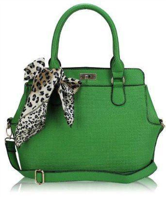 Las Green Designer Handbag Satchel Shoulder Tote Bag With Scarf Price 16 00 Uk Ireland Only