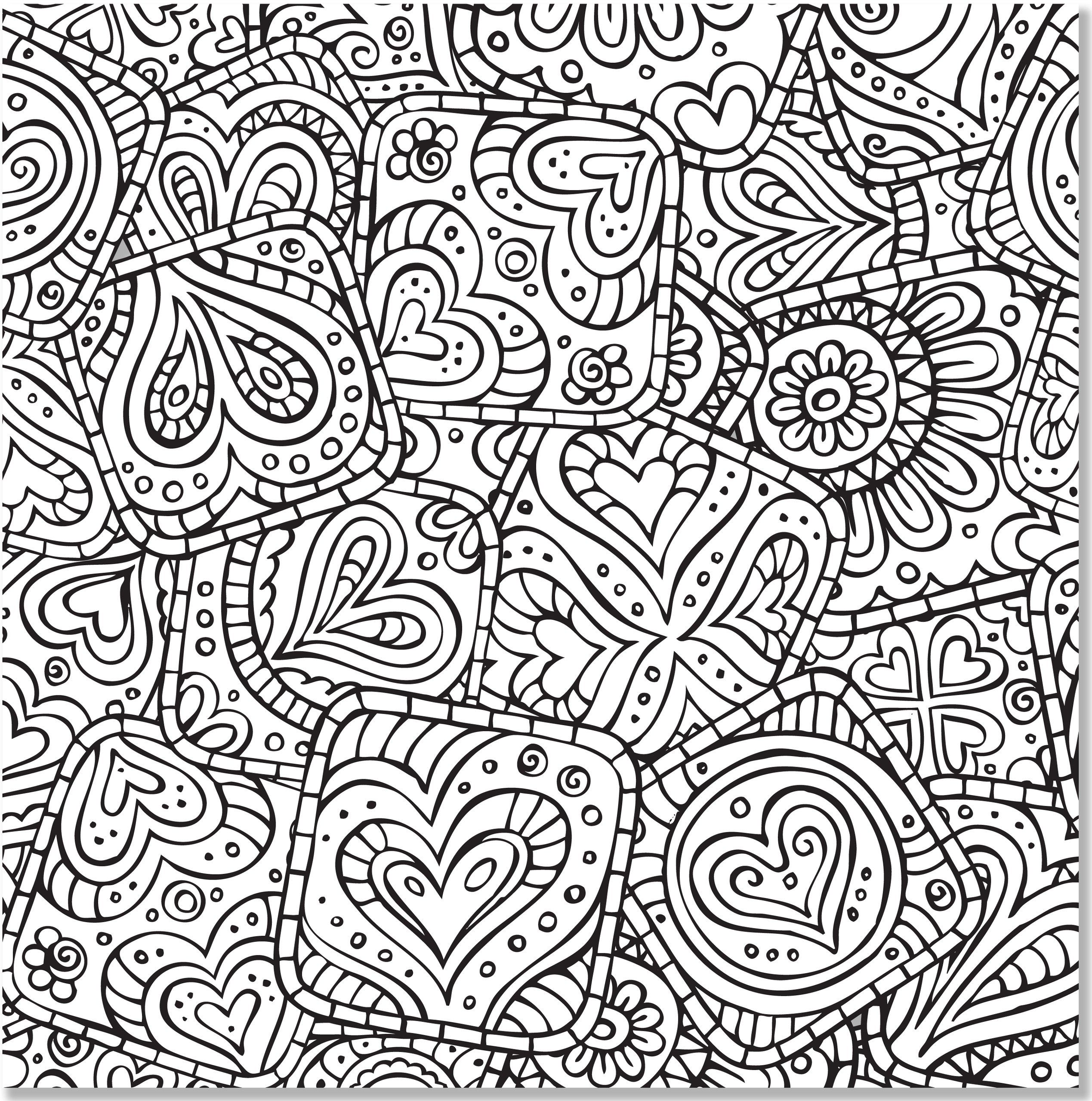 Hearts Abstract Doodle Zentangle Paisley Coloring pages colouring ...
