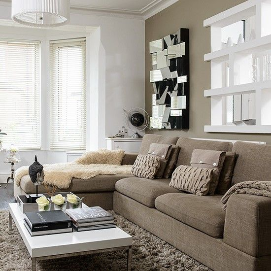 fascinating neutral modern living room | Neutral modern living room with beige sofa and mirror ...