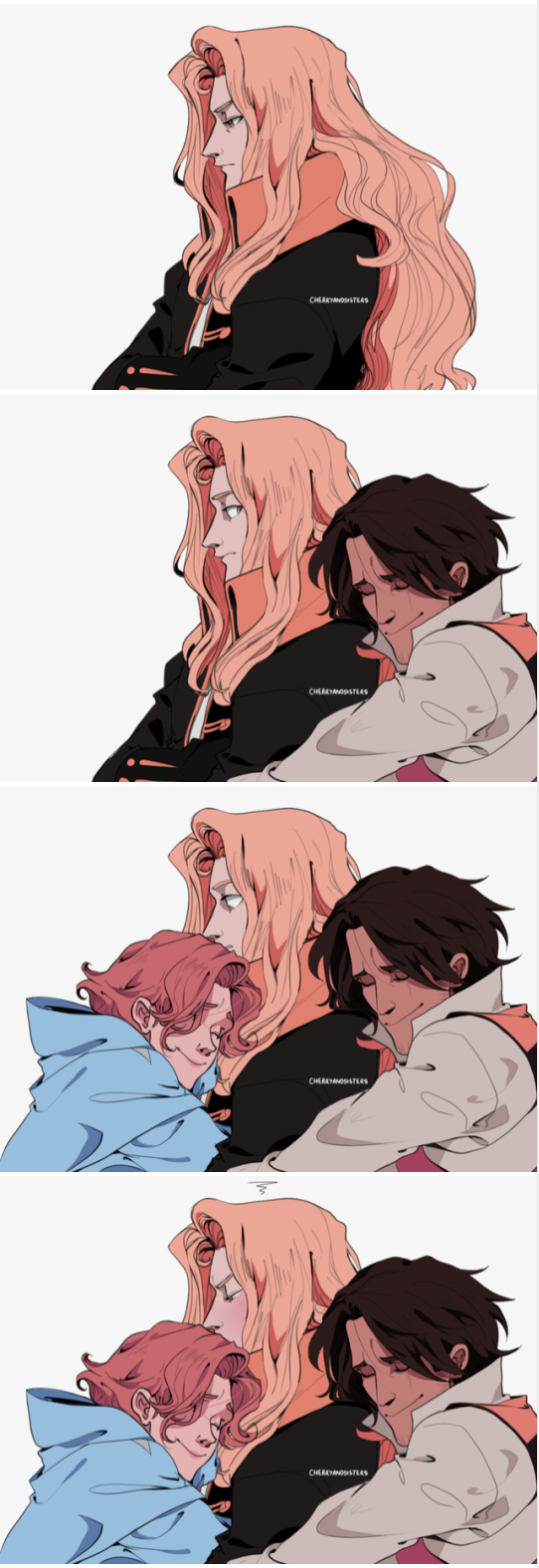 Castlevania protagonists hugging and being cute in 2020