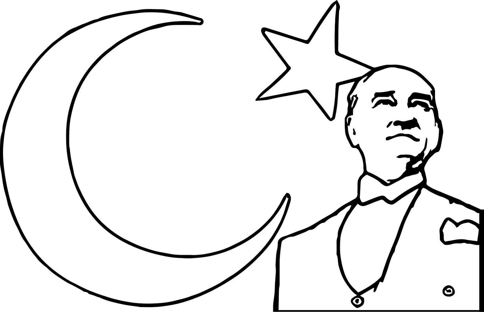 Türk Bayrağı Boyama Kağıdı çalışması Boyama Sayfaları