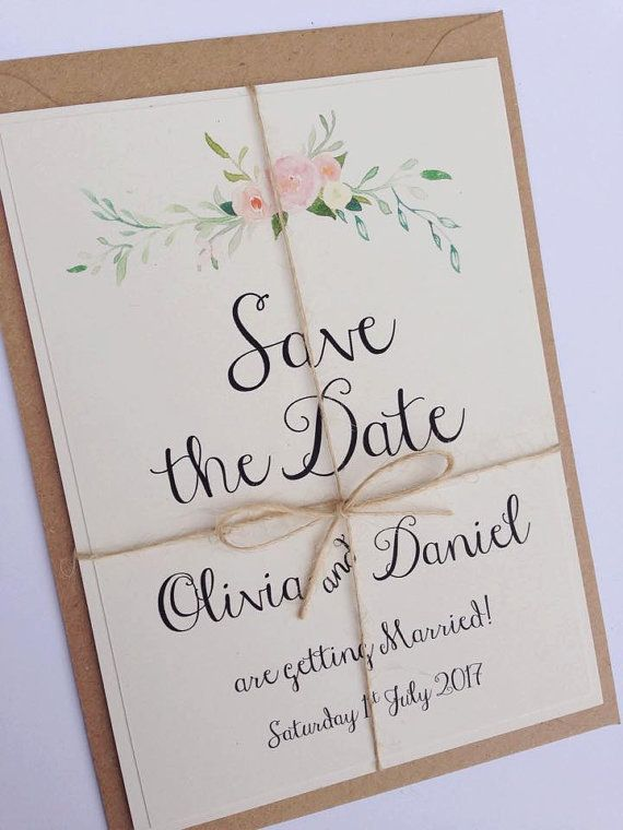 rustic floral save the date wedding by fromleoniwithlove on etsy, Einladungen