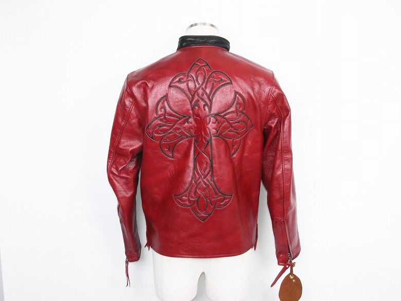 Red Leather Rider jacket back